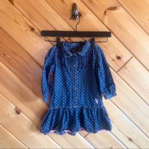 US Polo Assn Denim Dress Polka Dot Drop Waist 4t